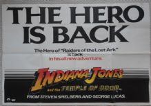Indiana Jones and the Temple of Doom, Original UK Quad Film Poster, Harrison Ford, '84